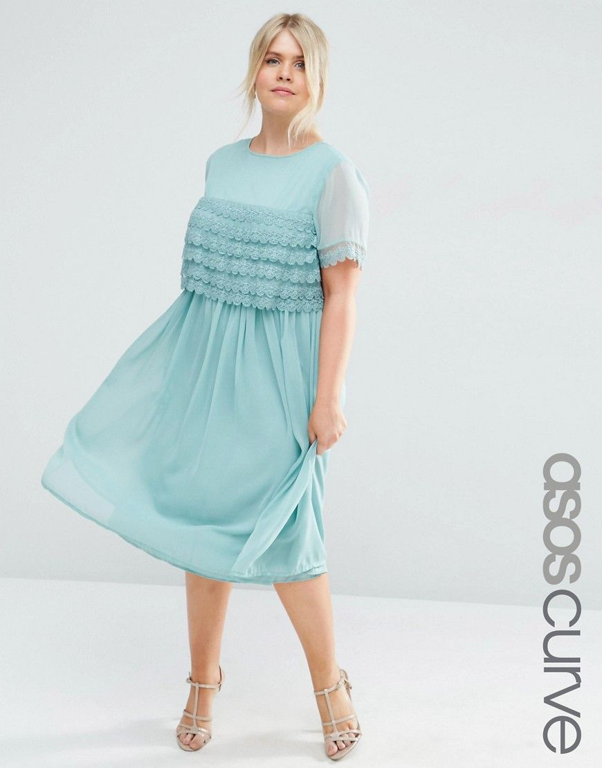 ASOS CURVE SALON Midi Prom Dress with Layered Lace Top - Green ...
