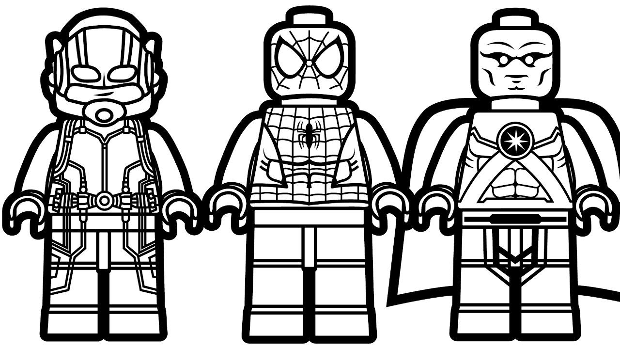 Lego Spiderman and Lego Ant Man Lego Martian Manhunter Coloring