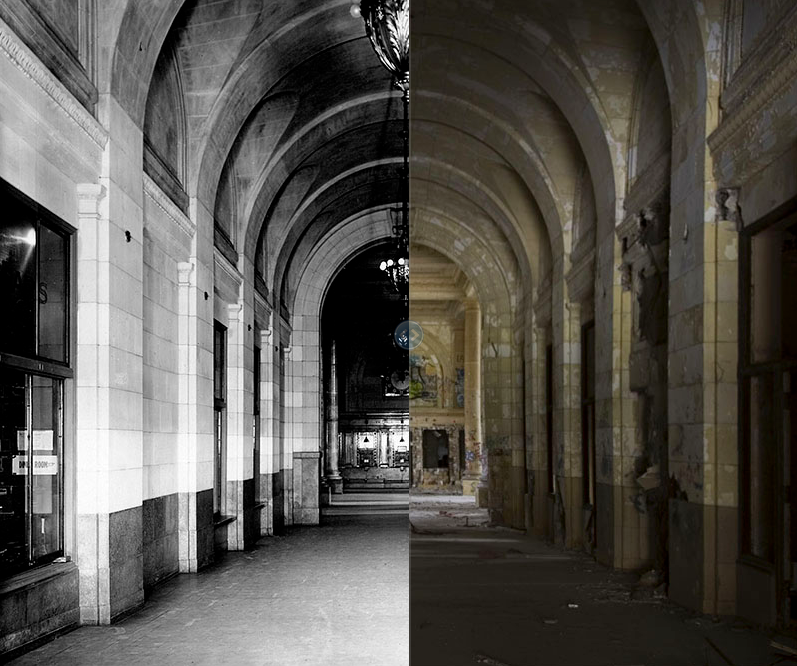 Michigan Central Station, 1975 and 2008. Arcade on the first floor of Michigan Central Station, facing the ticket office.