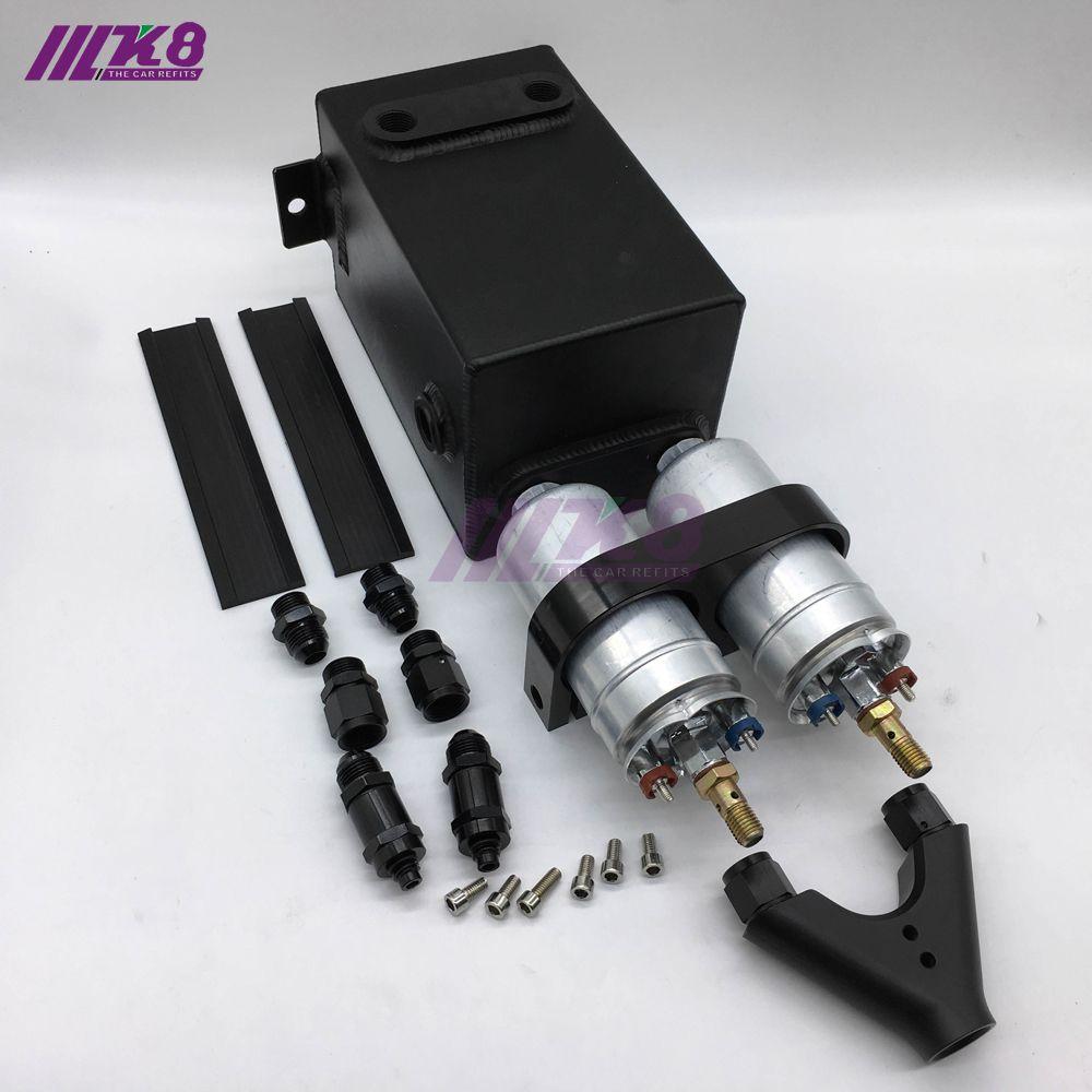Bk Fuel Pump Surge Tank 3l Raw Alu Surge Tank Y Block Bracket Fuel Pump Dual Efi With 2pc 044 Fuel Pump Replacement Parts Pumps Bracket