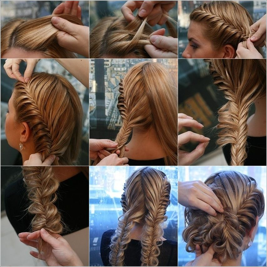 Herringbone Braid Updo Step By Step Fishtail Braid Updo Hair Styles Fish Tail Braid