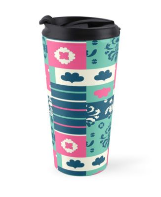 Travel mug. Artwork: Thoughtful mixish by Anna Sköld at Lumumma infodesign.Check out more products with this artwork on at www.redbubble.com