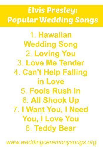 Elvis Presley Popular Wedding Songs Wedding Ceremony Songs Wedding Songs Popular Wedding Songs Elvis Love Songs