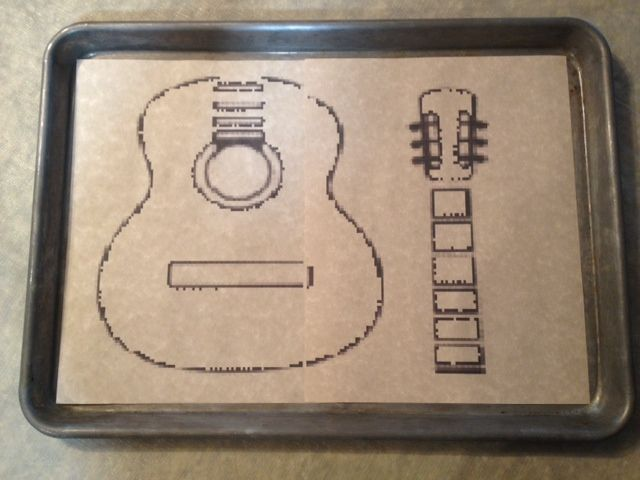 Guitar Birthday Cake Free PDF template for cutting out a guitar
