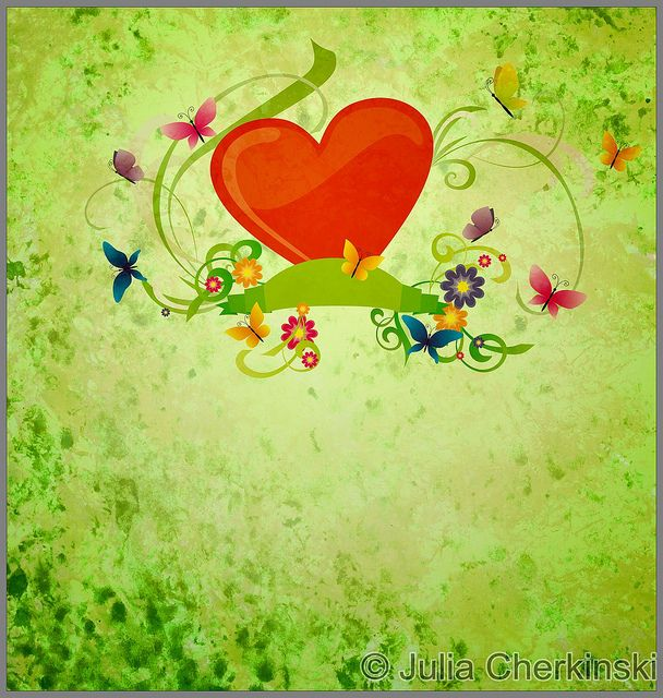red hear, banner scroll, butterflies and flowers on green gunge background     http://www.tpt-fonts4teachers.blogspot.com/2013/01/san-valentines-day-free-clip-arts.html