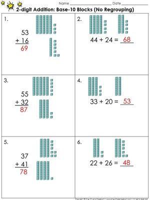 2-digit Addition: Use Base-10 Blocks (No Regrouping) Practice ...