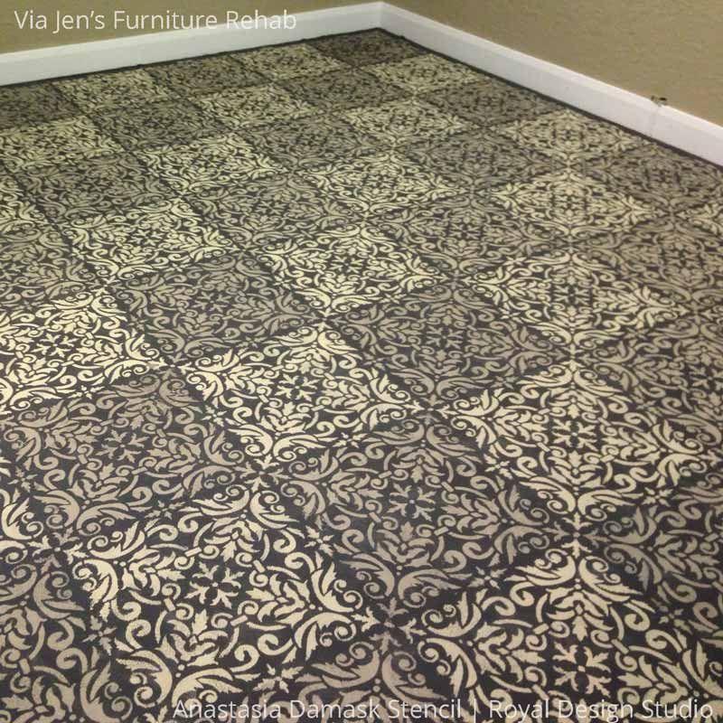 Faux Tile Diy Painted Floor Using Anastasia Damask Stencils Royal Design Studio