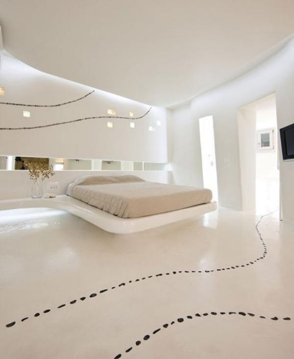 Schlafzimmer komplett weiß modern einbauleuchten effekte Ein - wohnzimmer weis modern