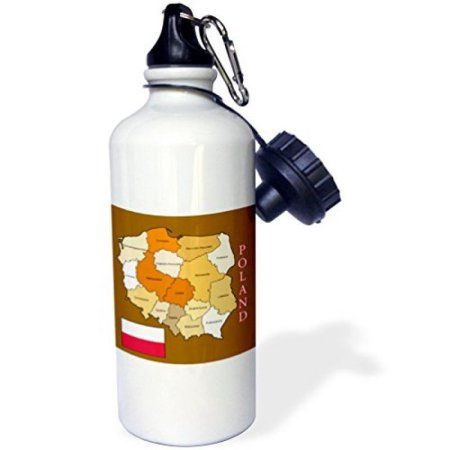 3dRose Flag and map Poland in golden colors each political division labeled, Sports Water Bottle, 21oz, White