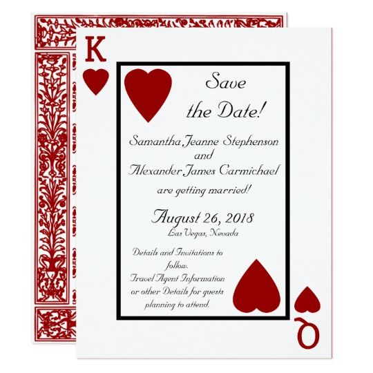 Playing Card King Queen Save The Date Zazzle Com In 2021 Wedding Messages Wedding Invitations Red Wedding Invitations