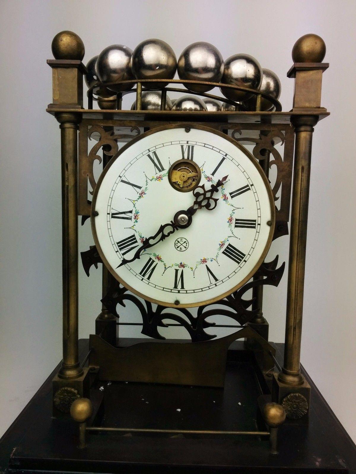 Rare Falling Ball Bearing Ferris Wheel Antique Style Mantle Shelf Or Desk Clock Marble Ball Clock Diy Clock