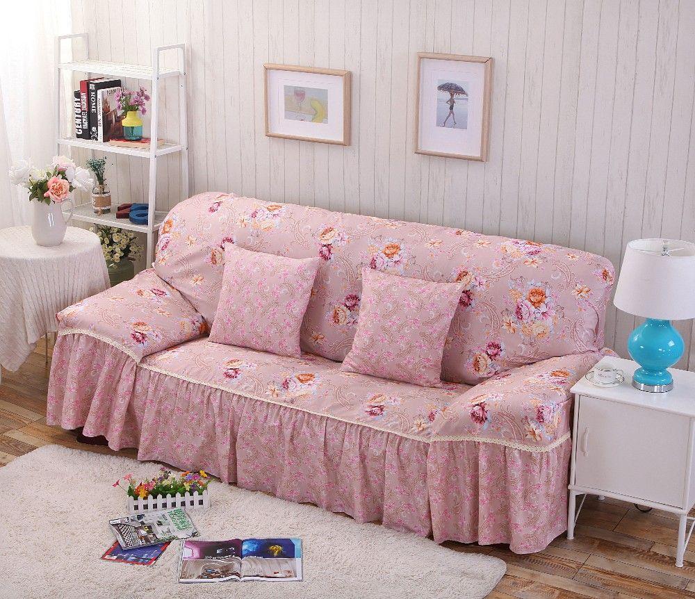 Cotton Polyester Modern Plaid Sofa Towel Flower Floral Stripe Sofa