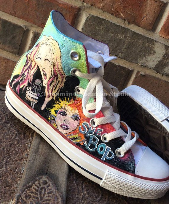 Custom Painted Shoes, HandPainted Converse Hi Tops, Music