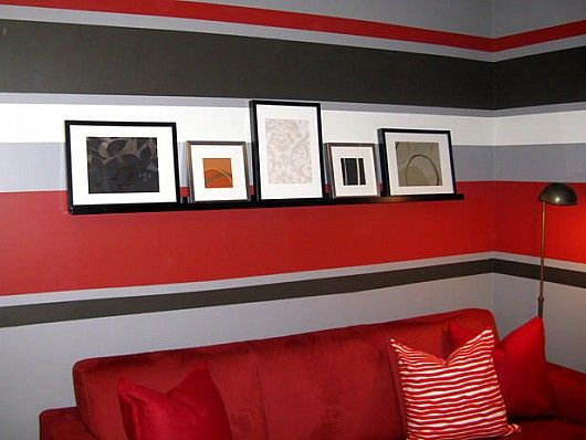 Red White And Black Stripes Interior Painting Painting Stripes