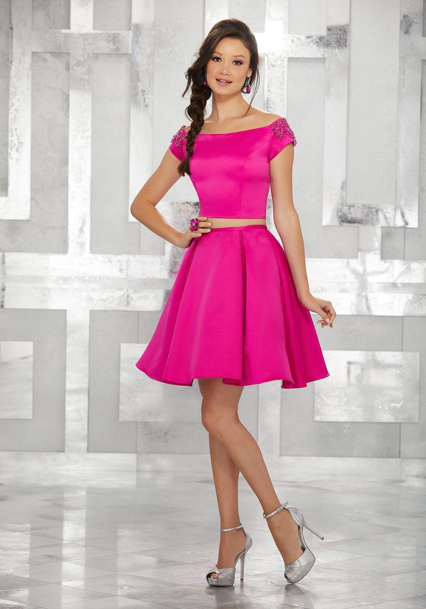 abiye elbise kısa abiye modelleri fuşya saten İki parça kayık