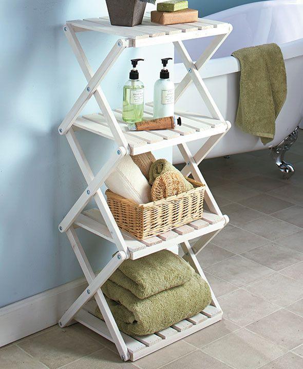 4-Tier Foldable Wood Shelf Unit Stand Slat Board Accordion Design