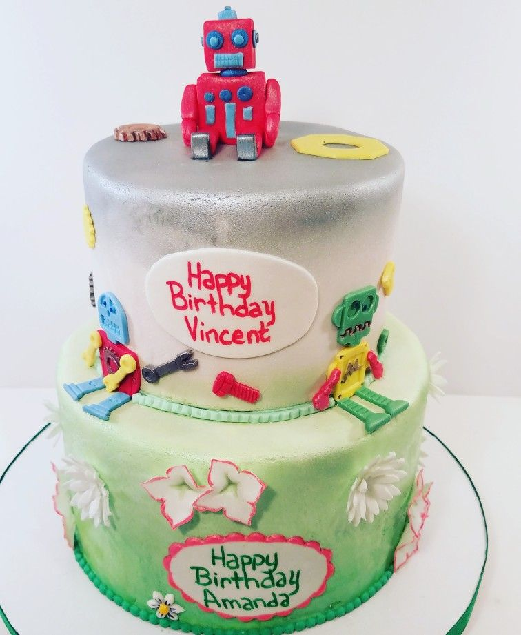 Mom And Son Double Birthday Cake Robots Cake Tier And Girlie