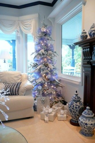 A Blue  White Christmas Blue, Green Pinterest Christmas tree