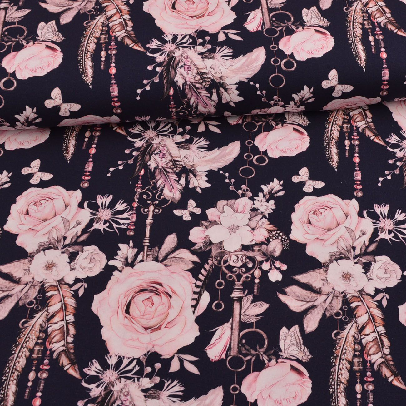 Lovely Keys Roses Navy Glitzerpuppi Eigenproduktion Jersey Schlussel Rosen Federn Blumen Softshell Stoff Stoffe Stoff