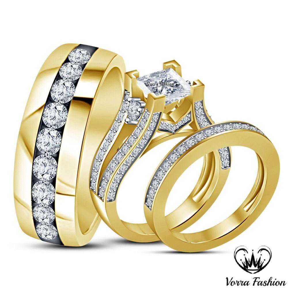 18k Gold Plated 925 Silver Diamond Trio Wedding Band