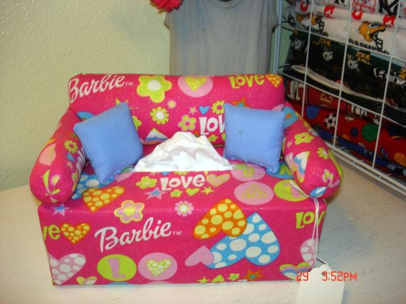 Barbie Bedroom In A Box: Barbie Inspired Sofa Couch Tissue Box By