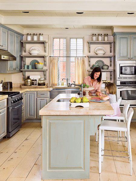 cocina con piso de mesera y barra   PISO DE MADERA   Pinterest ...