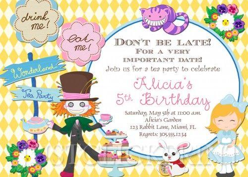 Alice In Wonderland Mad Hatter Tea Party Birthday Invitation