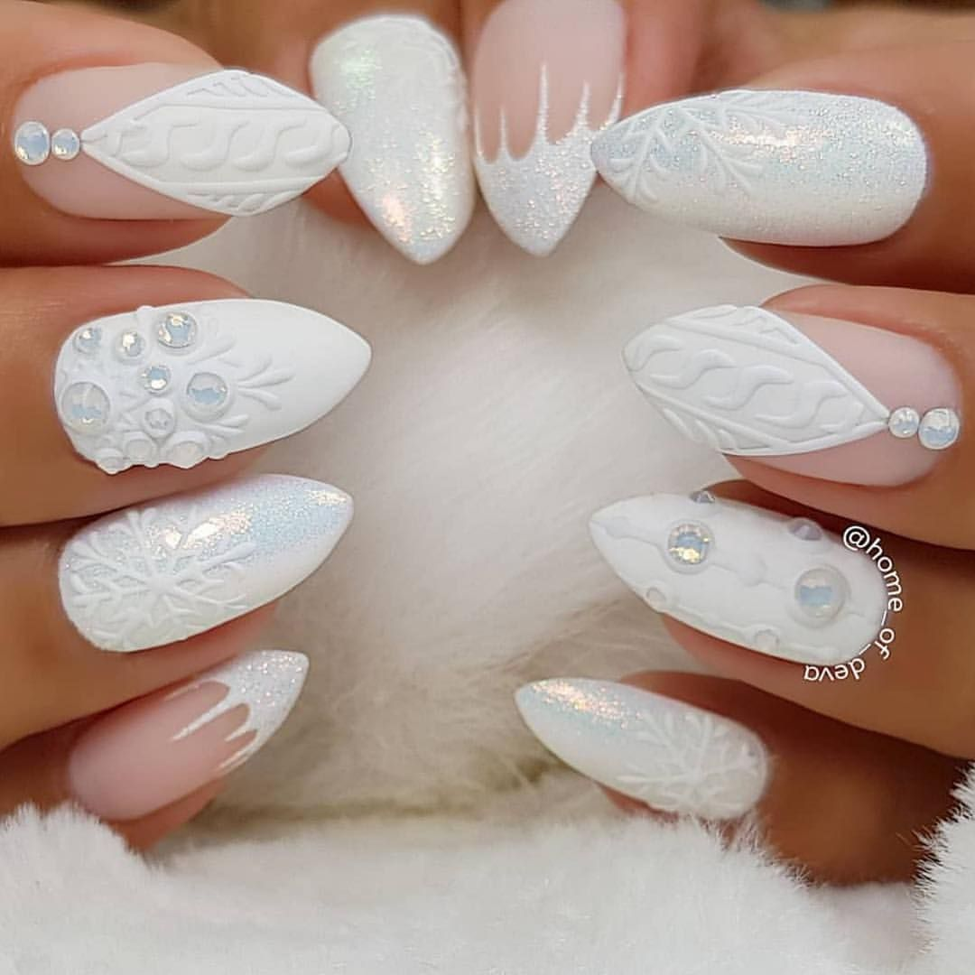 White Christmas Nails By Home Of Deva Love The Accents With Swarovski White Opal Crystals Shop For Nail Colors Winter Holiday Nail Designs Holiday Nails