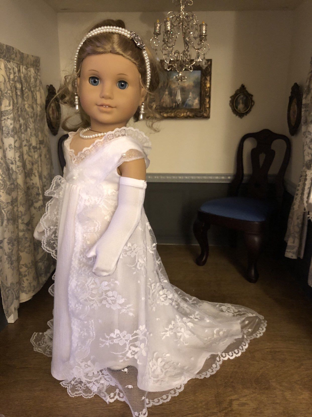 War & Peace 19th Century Lace Gown for American Girl Dolls #americandolls