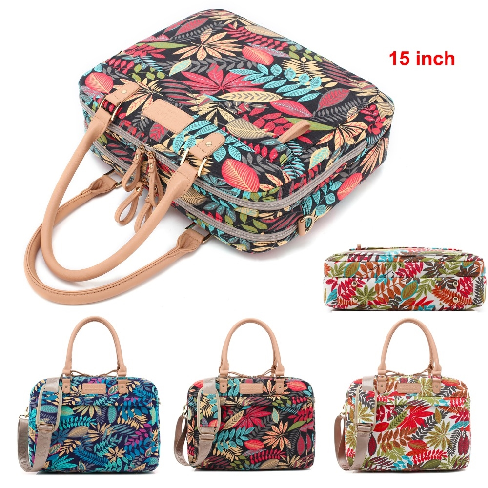 56.67$  Watch now - http://alicpz.worldwells.pw/go.php?t=32791919305 - 2017 Hot Luxury Tropical Forest Print Women Shoulder Bag Handbag Canvas Multi-use Laptop Bag Computer Messenger With Belt 15