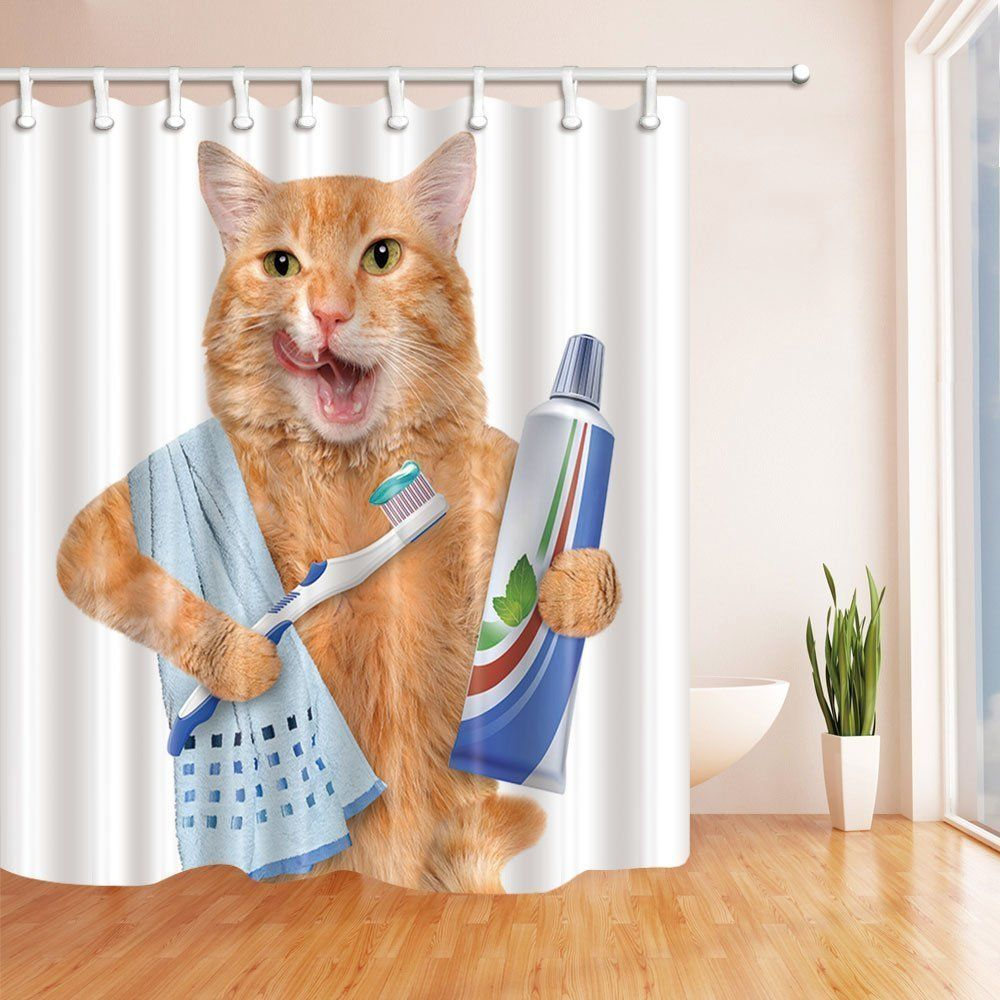 Kotom A Cat With Toothpaste On Toothbrush Shower Curtain 69x70 Inches Mildew Resistant Polyest Cat Shower Curtain Bathroom Shower Curtains Cute Shower Curtains