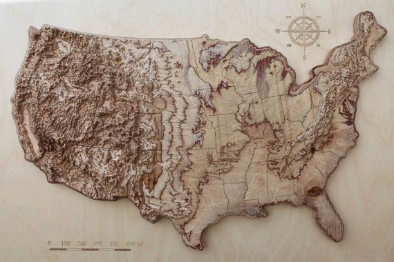 3d terrain wooden map of USA 16\