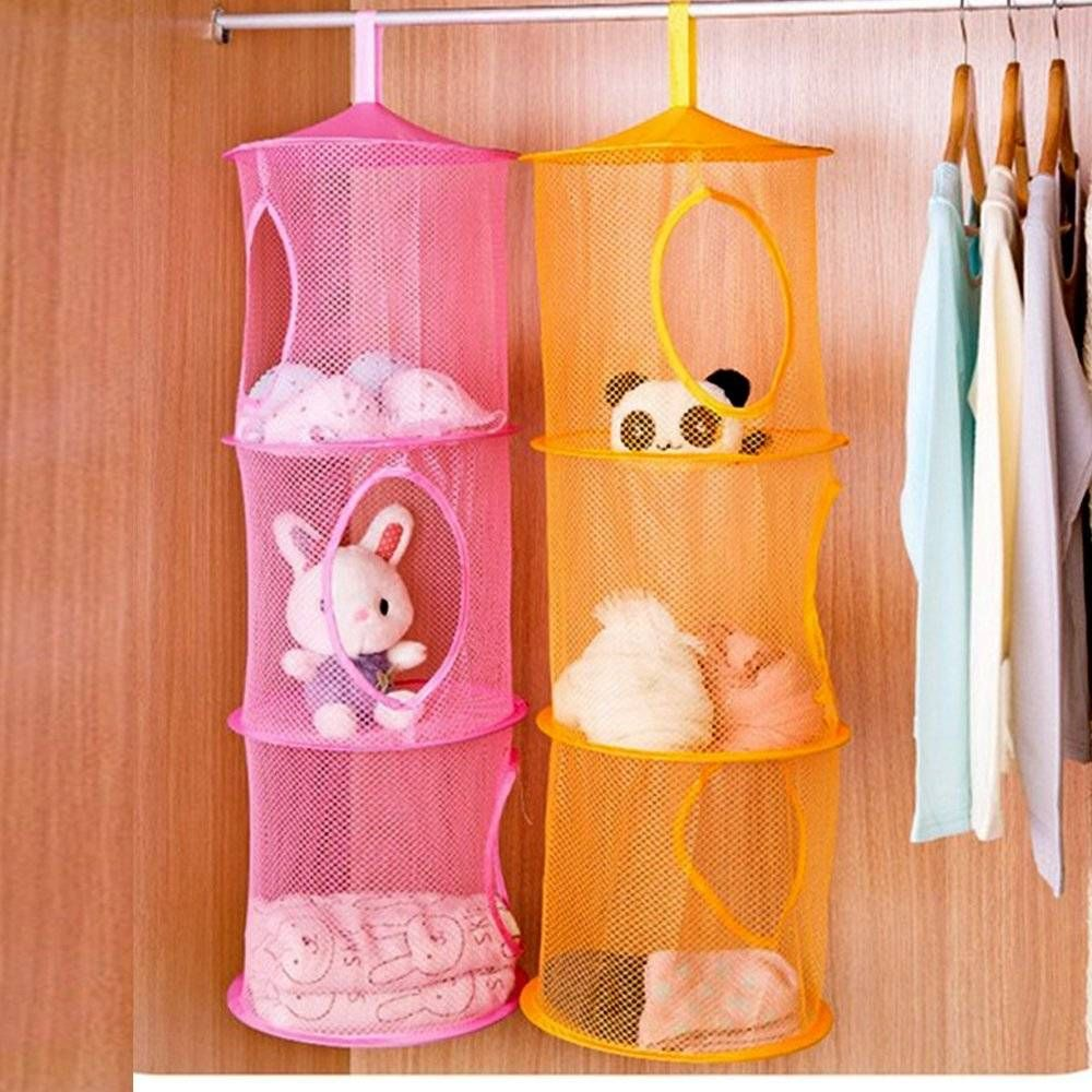 Charmant 20+ Creative DIY Ways To Organize And Store Stuffed Animal Toys   U003e Hanging  Mesh Storage Basket Toys Organizer