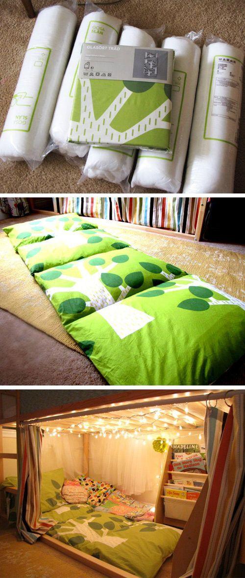 kissen matratze unterm hochbett kuschelecke mit lichterkette dekoration selber machen. Black Bedroom Furniture Sets. Home Design Ideas