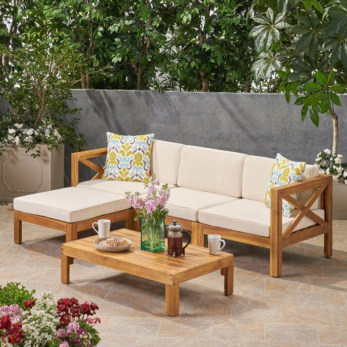 Best Reina Outdoor 5 Piece Sectional Seating Group With 400 x 300