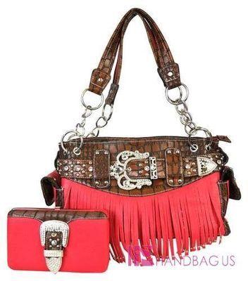Western Rhinestone BELT Buckle FRINGED Tote Purse Bag Handbag Wallet SET PINK