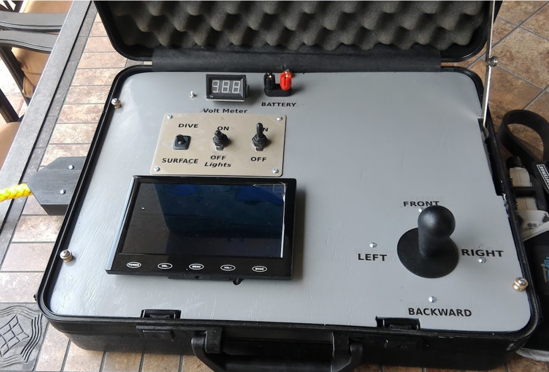 This Is The Control Box For The Rov I Made Display Can Be Adjusted To Any Angle And A Voltmeter Can Keep Track Of The Power Left In T Bastelideen Basteln