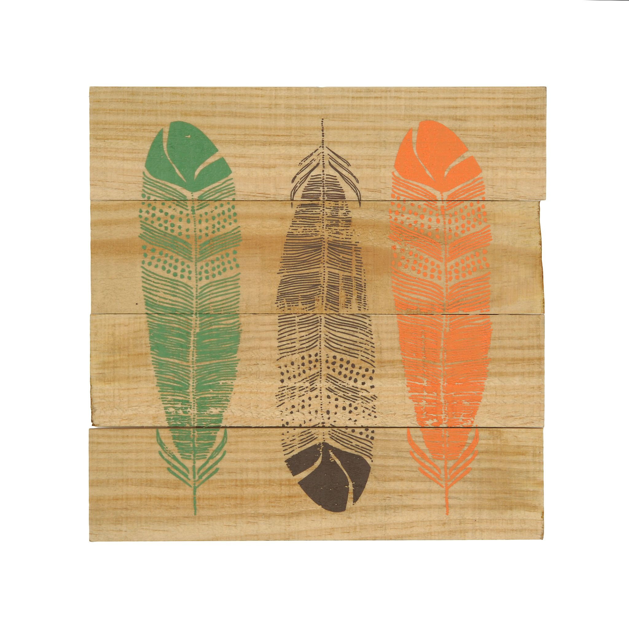 Colorful feathers plank wall plaque colorful feathers planked