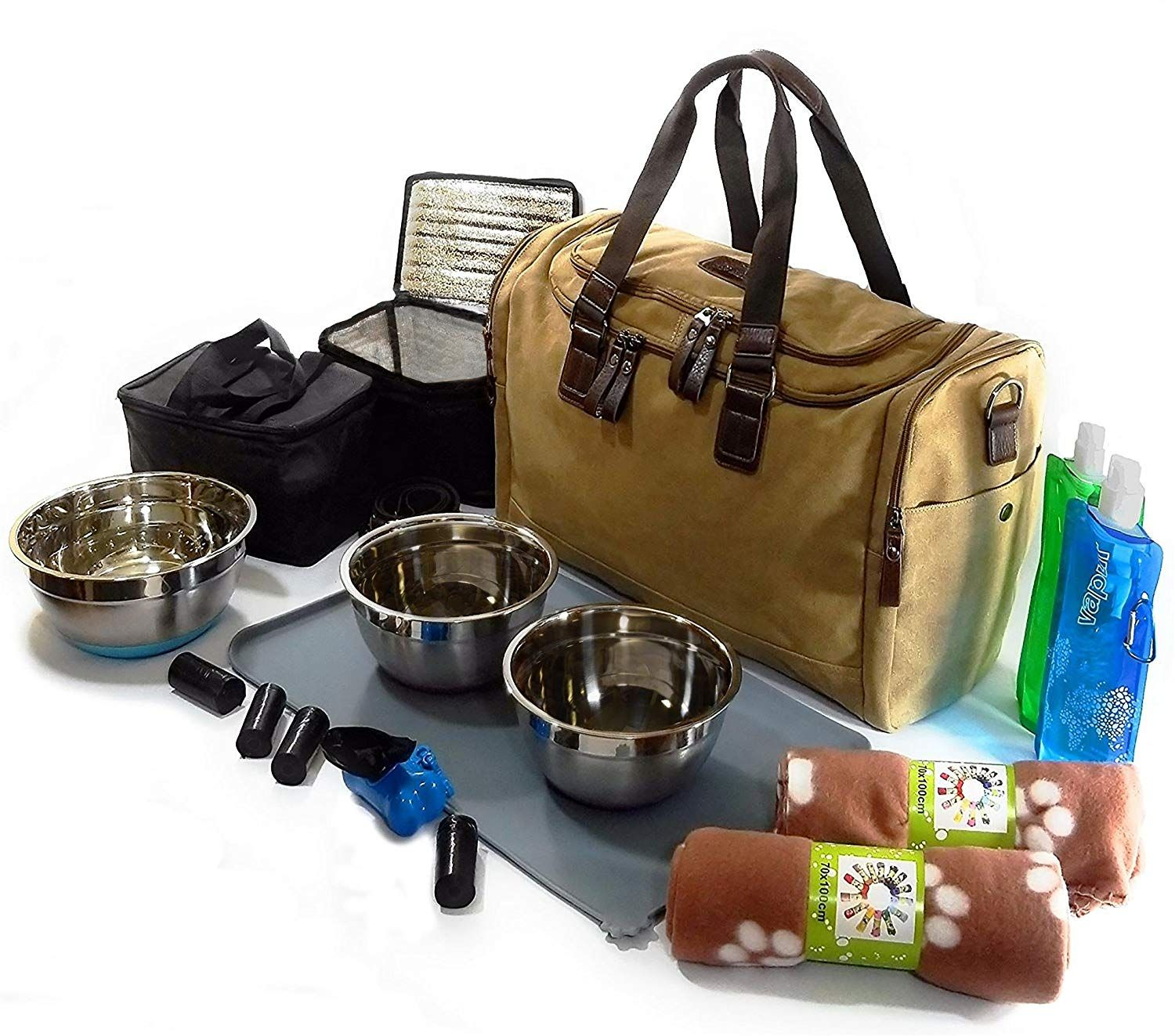 Dog Travel Bag For 2 Dogs Canvas Duffel Stainless Steel Bowls 2