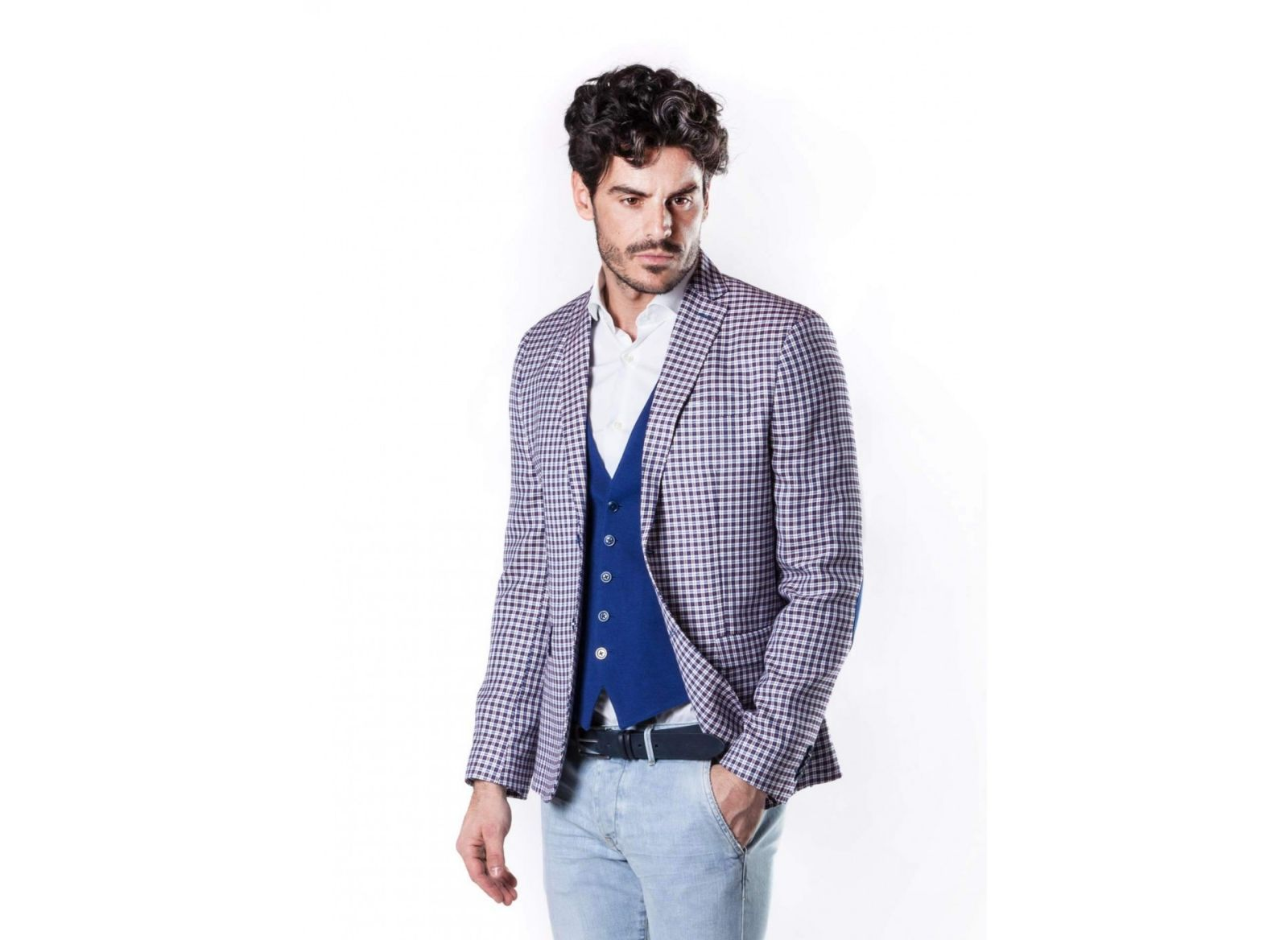 Checkered jacket john barritt semi lined slim fit with contrasting patches 3ab1284c262