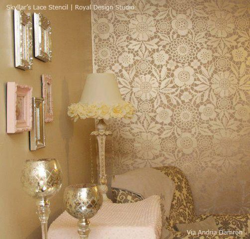 Skylars Lace Floral Stencil Diy wallpaper Stenciling and Lace