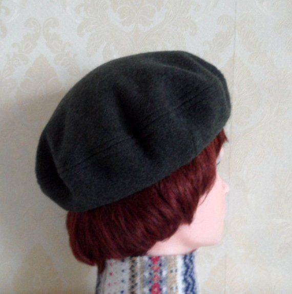 Deep green color boiled wool beret-Womens french style beret-Pure felted  wool beret-Classic women beret-Red wool beret-Handmade trendy beret c0f20c9bd41