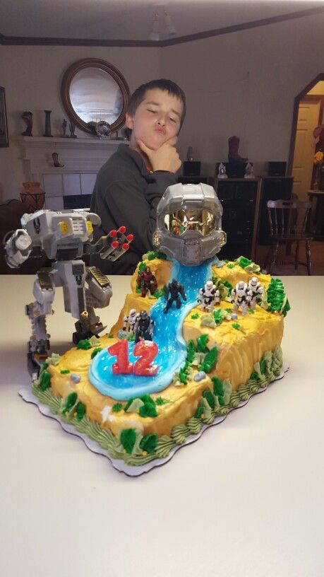 Groovy Ryans Halo Birthday Cake He Said I Did Real Good On This One Funny Birthday Cards Online Alyptdamsfinfo