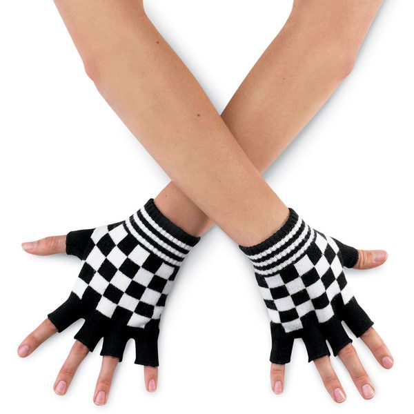 Checkered Knit Fingerless Dance Gloves; Dasha ($150) ❤ liked on Polyvore featuring accessories, gloves, other, knit gloves, knit fingerless gloves and fingerless gloves