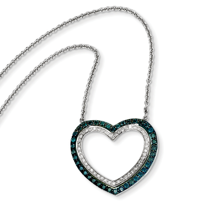 14k White Gold Blue and White Diamond Heart Pendant