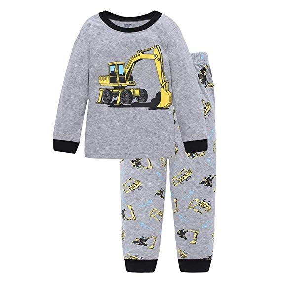 1a343cf5c5a5 Toddler Boys Pajamas Fire Truck 100% Cotton Kids Train 2 Piece Pjs ...