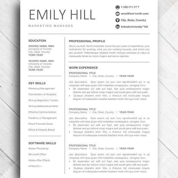 simple resume template for word  u0026 pages  editable cv