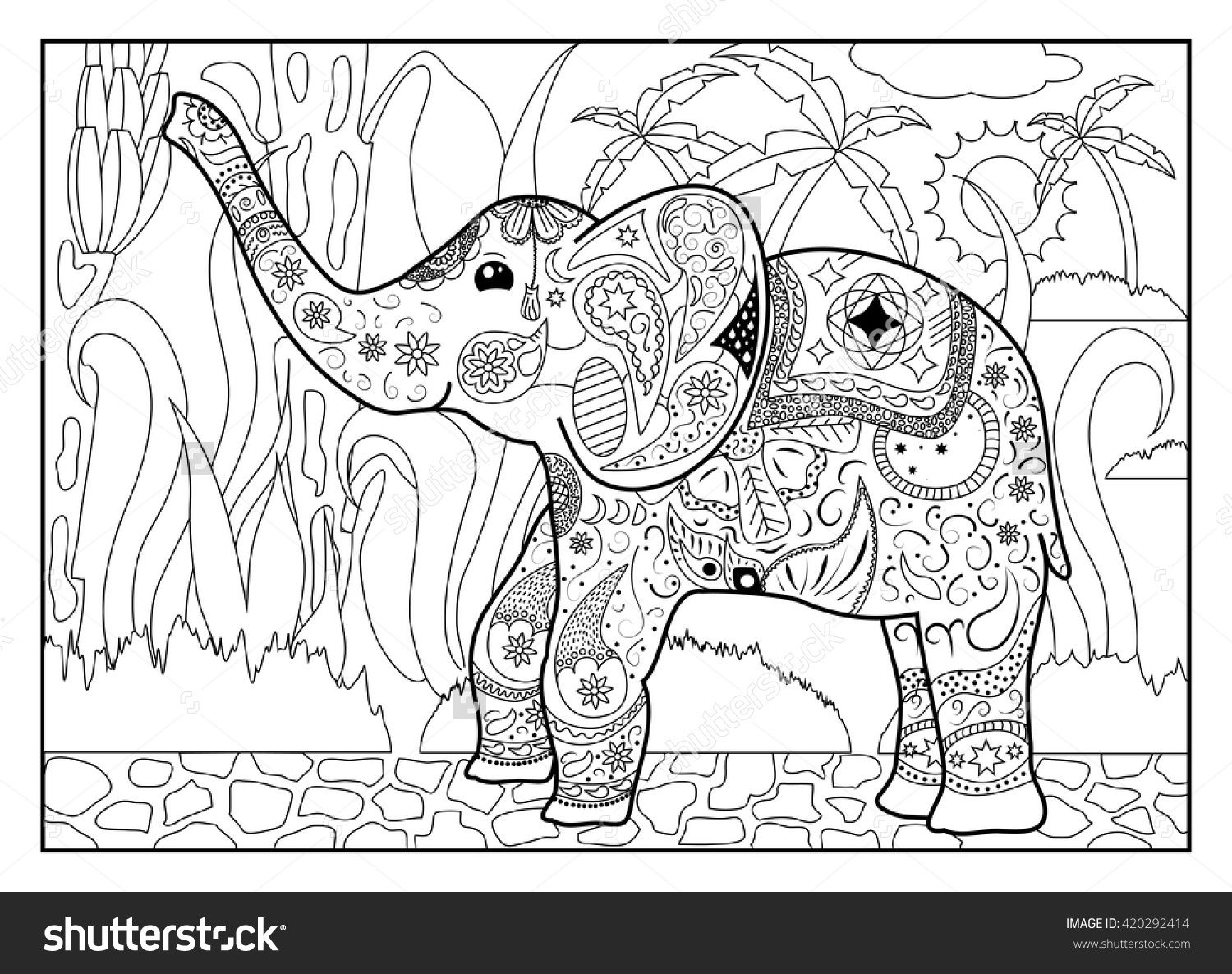Elephant In Jungle Coloring Page Mandala Style Elephant Horizontal Coloring Page Mandala Elephant Coloring Page Jungle Coloring Pages Mandala Coloring Pages