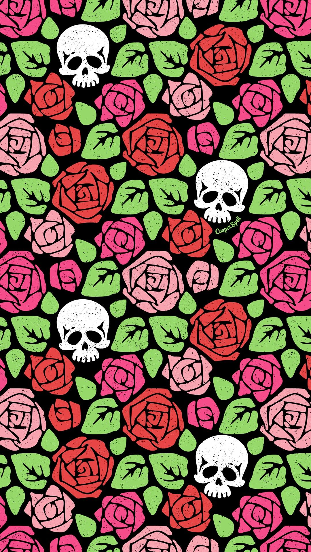 Roses and skulls repeat wallpaper pattern background