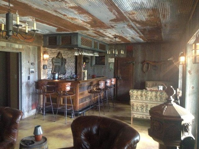 Ceiling Of Rusted Corrugated Tin Rustic Man Cave Man Cave Design Rustic Basement